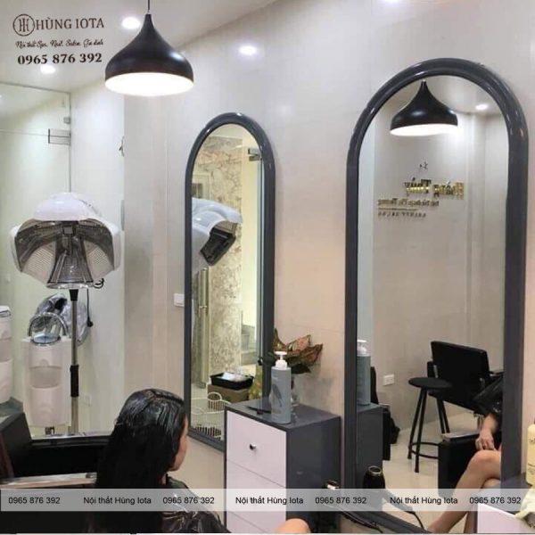 Gương cắt tóc mái vòm màu xám Nội thất Salon tóc