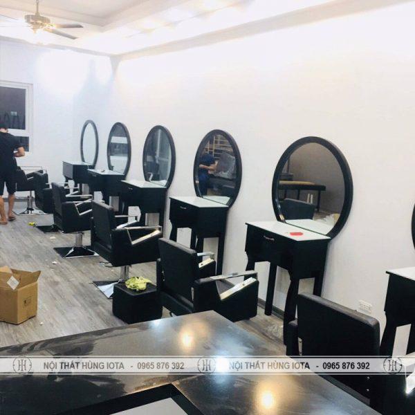 Gương cắt tóc tròn xám gỗ đẹp giá rẻ tại xưởng Nội thất salon tóc Hùng Iota