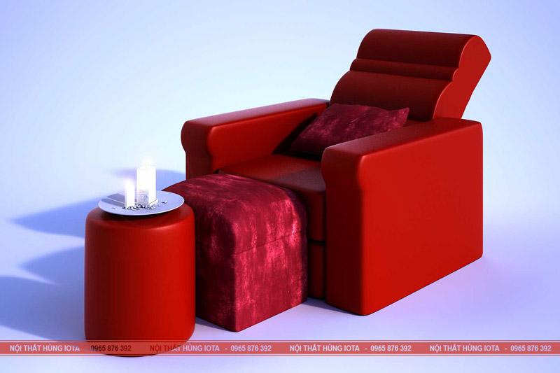Ghế foot massage đỏ nhung - Ghế foot massage chân đẹp rẻ