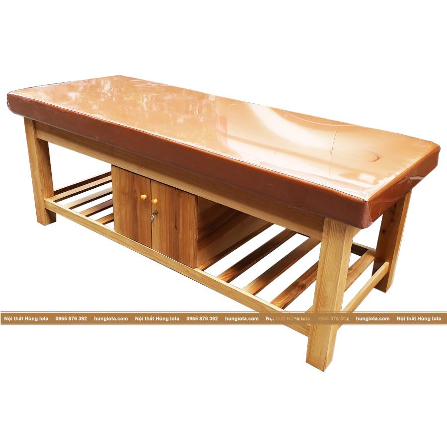 Giường massage gỗ sồi màu vàng nâu