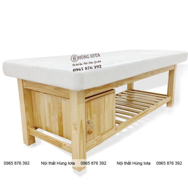 Giường spa gỗ thông tủ đầu GS05