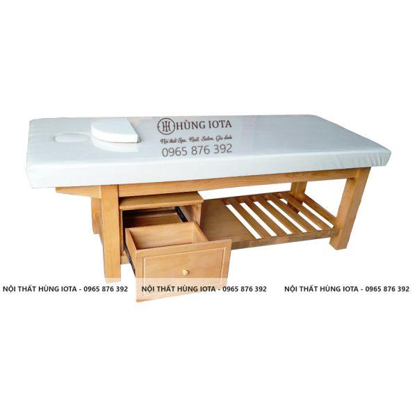 Giường spa gỗ thông tủ nhỏ GS10 giá rẻ