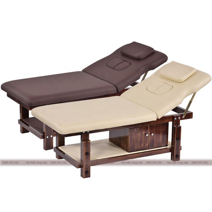 Giường spa nâng đâù gỗ sồi có tủ GS14
