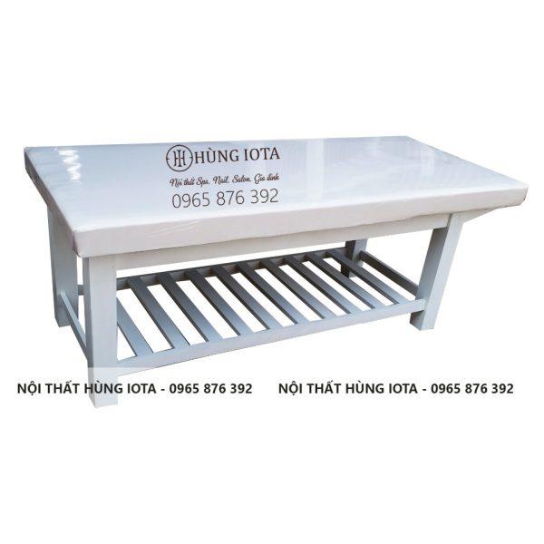 Giường spa trắng gỗ mẫu cơ bản GST01