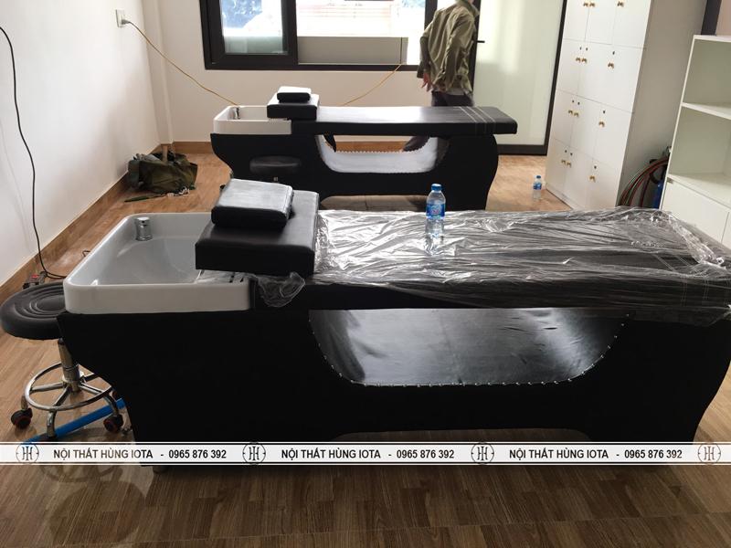 Giường gội spa massage màu đen bồn sứ