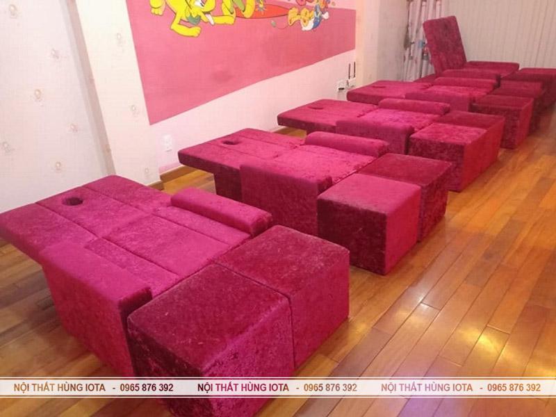 Mẫu ghế foot massage nỉ nhung đỏ đẹp - Ghế foot massage chân