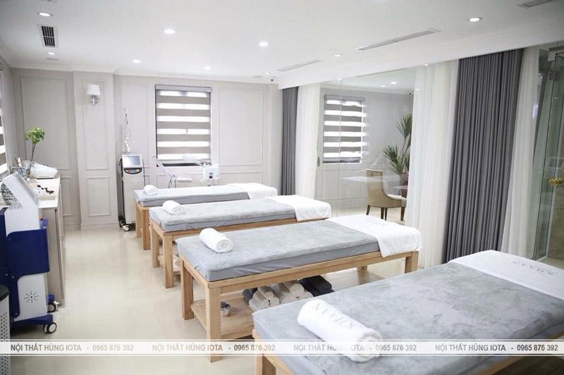 Nội thất spa đẹp Giường spa màu gỗ