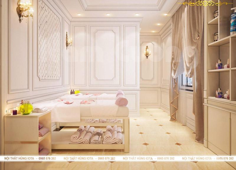 Nội thất spa đẹp màu trắng sữa - Giường spa gỗ sồi