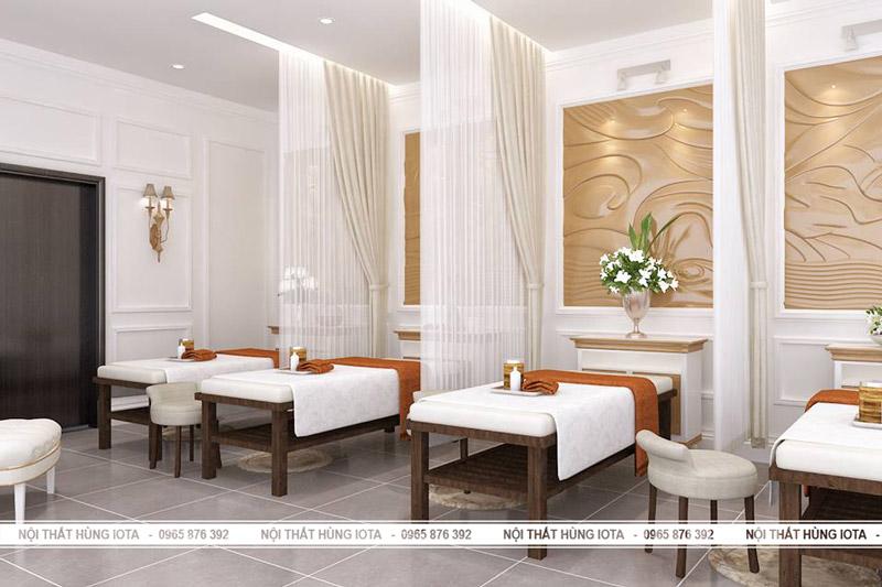 Setup nội thất spa màu nâu đệm màu trắng