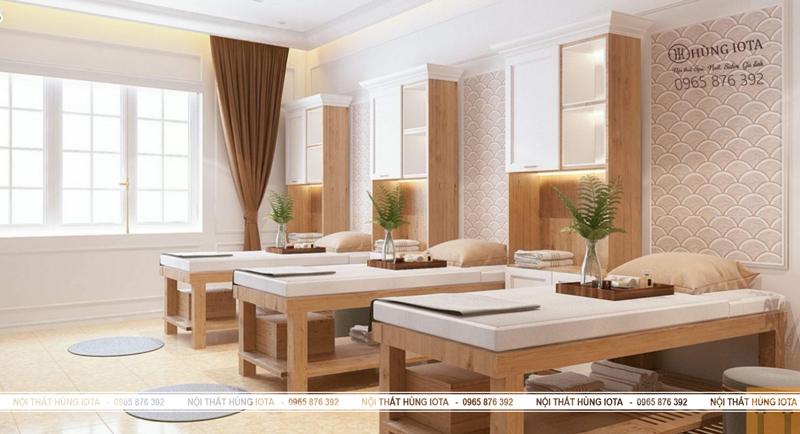 Thiết kế nội thất spa nhẹ nhàng màu gỗ - Nội thất Hùng Iota
