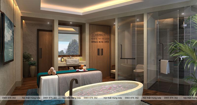 Thiết kế nội thất thẩm mỹ viện, spa phòng tắm bồn ngâm spa