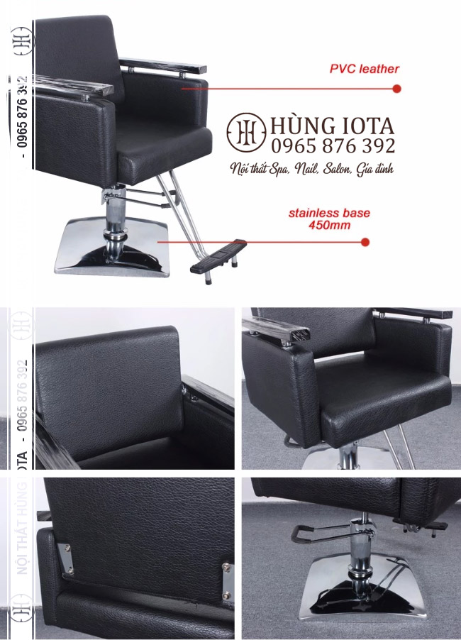 Chi tiết ghế cắt tóc inox có để chân màu đen đẹp