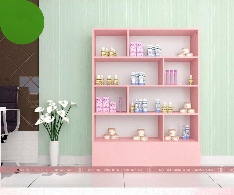 Tủ đựng khăn thẩm mỹ viện kết hợp đựng mỹ phẩm màu hồng