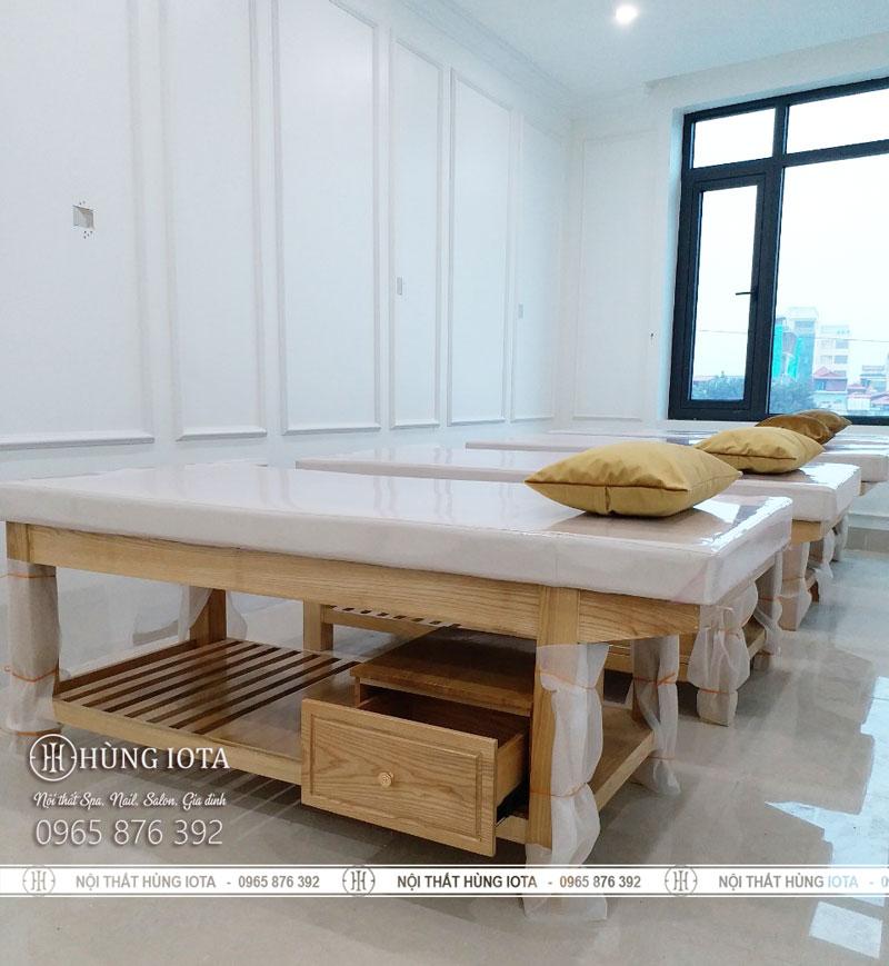 Giường massage body gỗ sồi có tủ giá rẻ tại Hà Nội