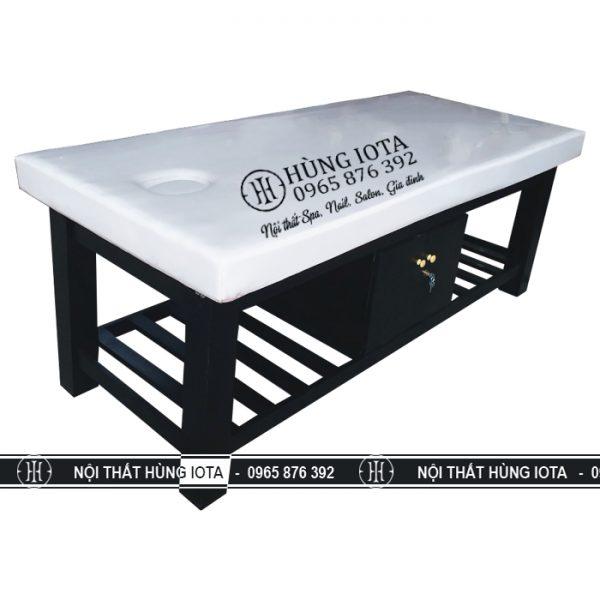 Giường massgage body màu đen chân vuông spa giá rẻ trực tiếp tại xưởng sản xuất giường