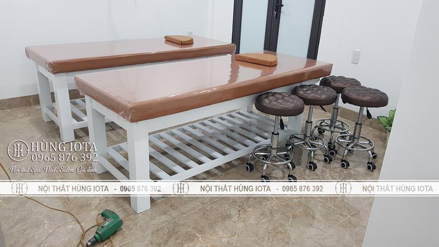 Giường massage body spa gỗ sồi màu cam giá rẻ tại xưởng sản xuất