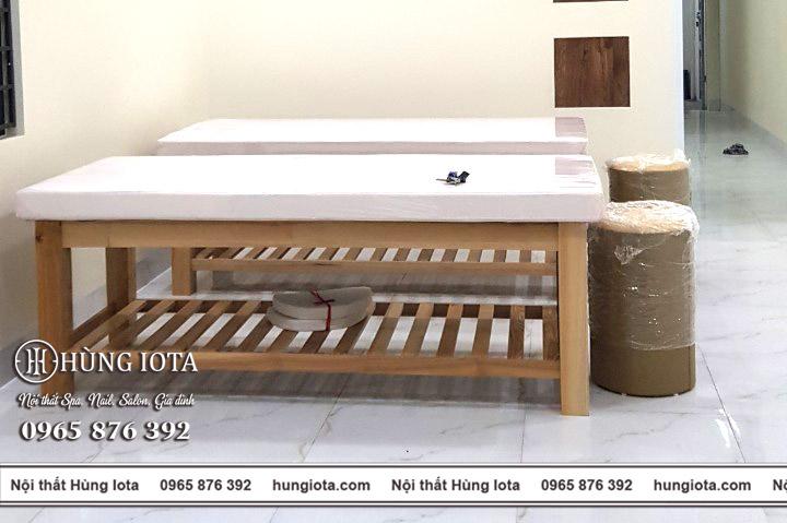 Giường spa gỗ sồi, ghế gỗ ktv spa ở Quảng Ninh