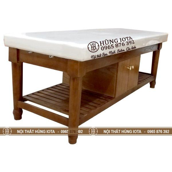 Giường spa màu hạt dẻ - Giường massage body màu hạt dẻ chân tròn giá rẻ
