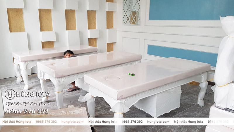Giường spa tân cổ điển cho thẩm mỹ viện Minh Châu spa tại Vinhome Hải Phòng