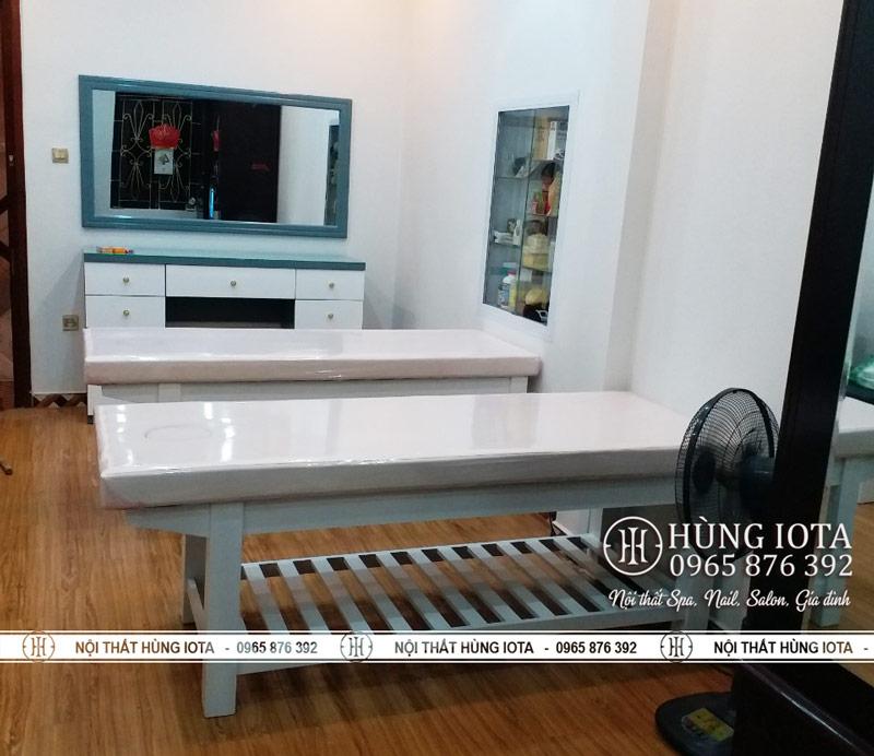 Giường spa + Tủ gương trang điểm spa Mộc Lan Hoàn Kiếm Hà Nội