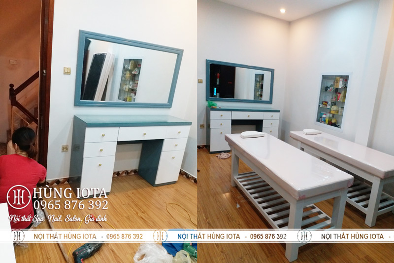 Lắp đặt giường spa, ghế chờ spa và gương tủ trang điểm spa tại Hoàn Kiếm Hà Nội