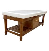 Giường spa màu hạt dẻ chân tròn gỗ sồi massage body spa