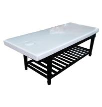 Giường gỗ spa màu đen massage body chân tròn