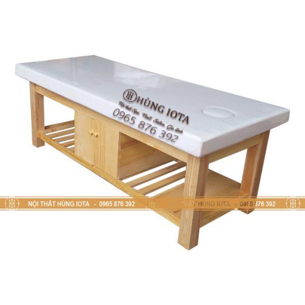 Giường spa màu gỗ tự nhiên vàng gỗ sồi có tủ giá rẻ tại xưởng GS23