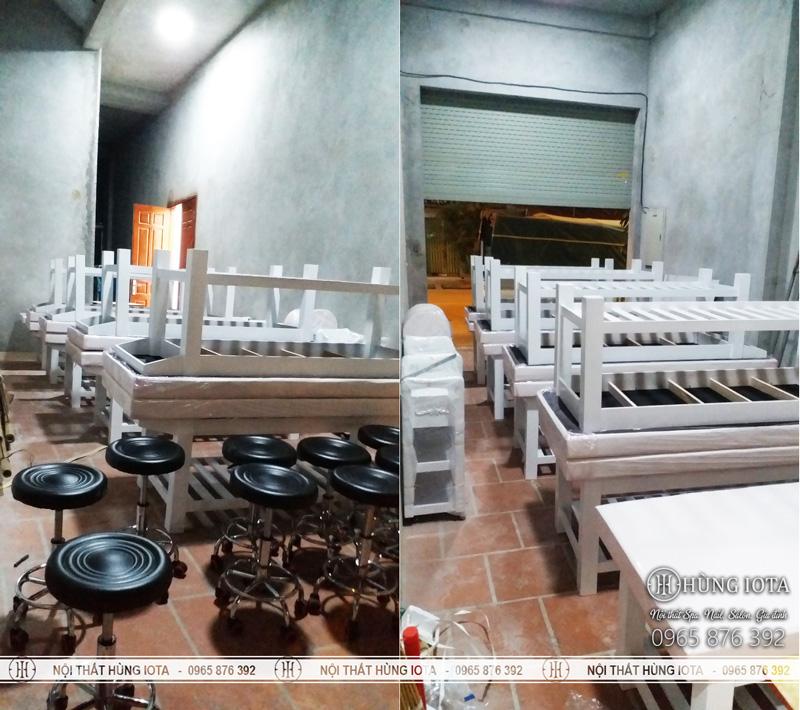 Lắp đặt giường spa, xe đẩy spa, quầy thu ngân spa, ghế spa, tủ spa tại Vân Đình