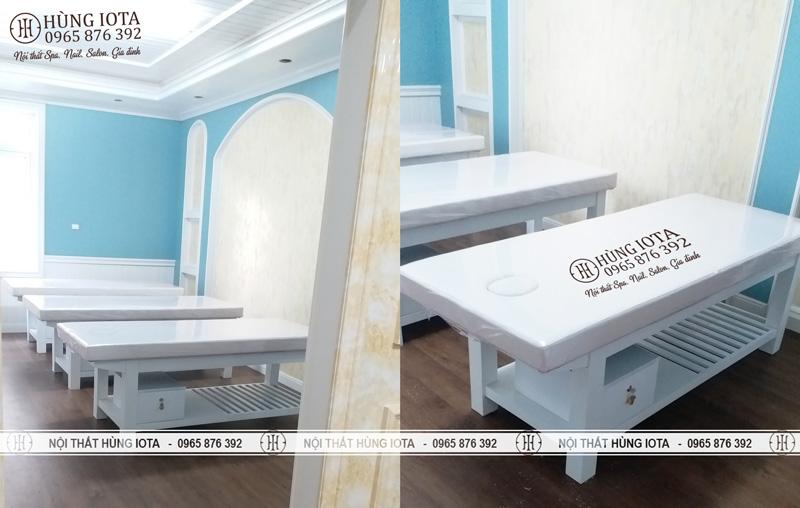 Lắp đặt giường spa gỗ sồi tủ trắng tại Trung Hòa Cầu Giấy cho chị Nhung - Linh