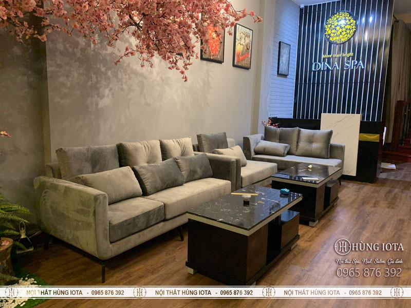 Sofa spa màu xám cho spa, thẩm mỹ viện cao cấp