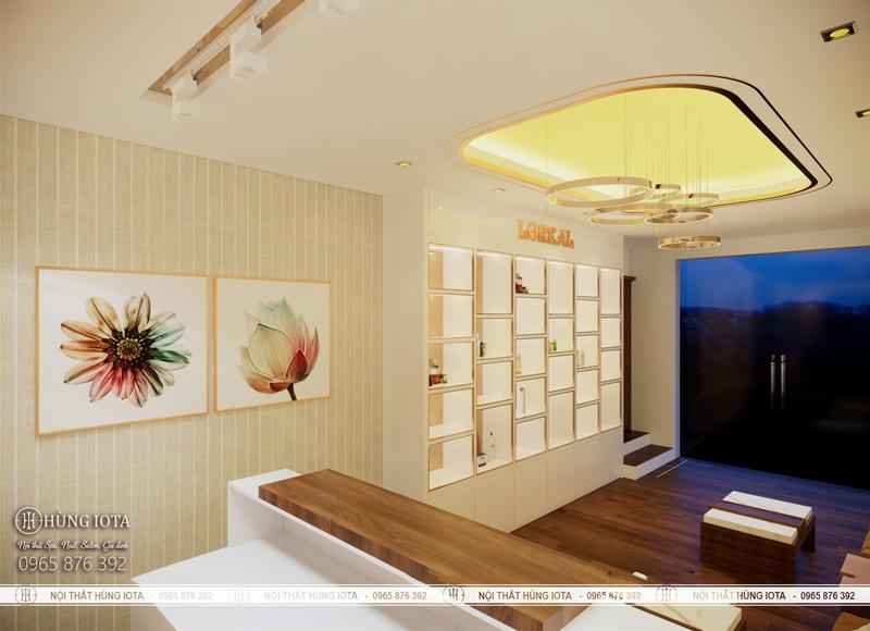 Nội thất phòng khách cho spa 2 tầng đẹp tone trắng vàng chủ đẹp