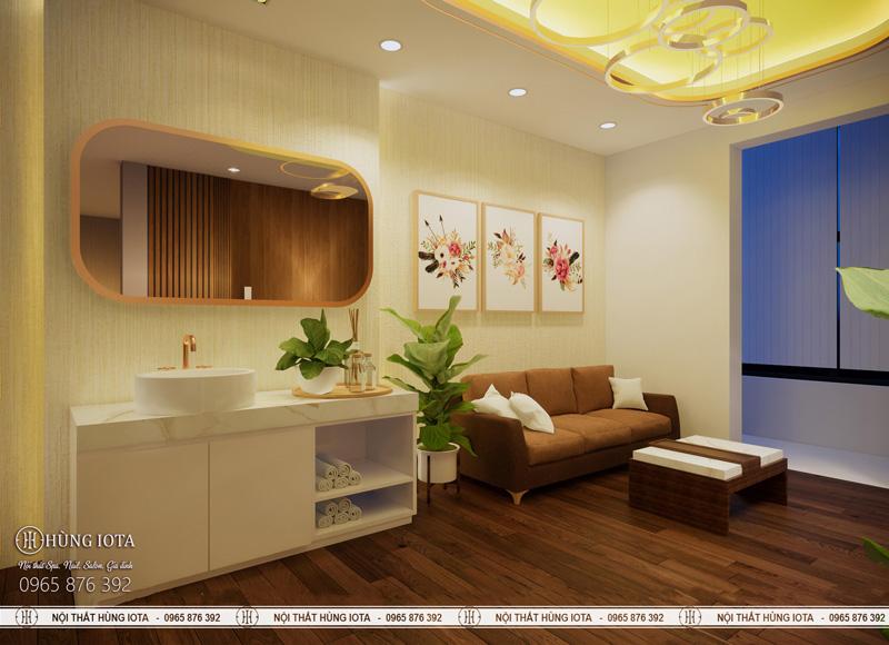 Phòng chờ tiếp khách, ghế chờ spa, tủ đựng khăn và bổn rửa tay lavabo