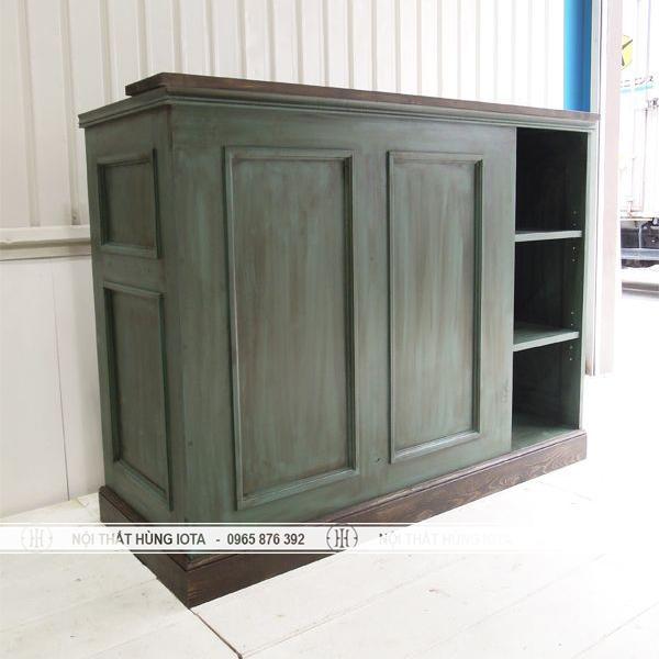 Quầy thu ngân màu xanh gỗ cổ salon tóc, spa, nail mi, cửa hàng