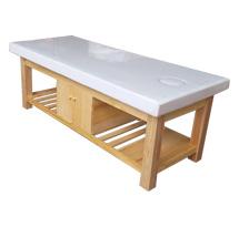 Giường spa màu gỗ tự nhiên có tủ gỗ sồi GS23