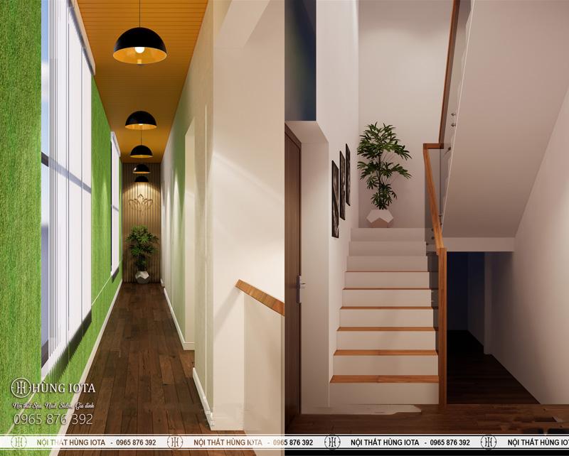 Trang trí cầu thang spa và hành lanh spa 2 tầng
