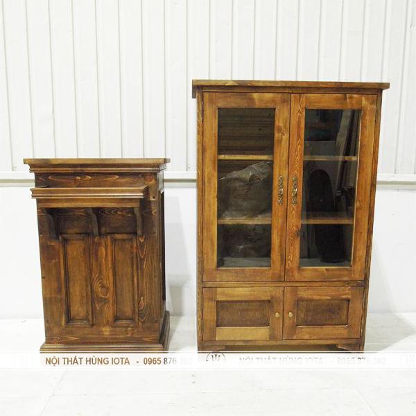 Tủ sản phẩm và quầy thu ngân tân cổ điển màu vàng nâu gỗ đẹp giá rẻ