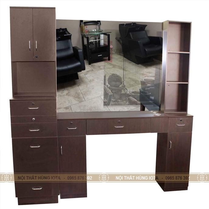 Combo gương cắt tóc và bàn gương cắt tóc chữ u màu nâu đẹp