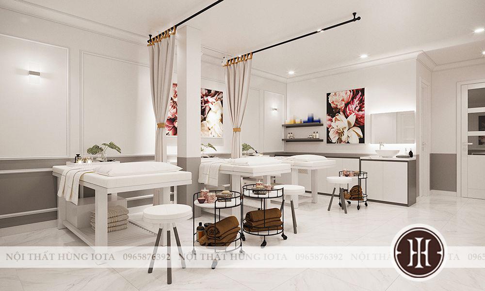 Ghế kỹ thuật viên spa màu trắng - giường spa gỗ màu trắng đẹp cho spa, thẩm mỹ viện
