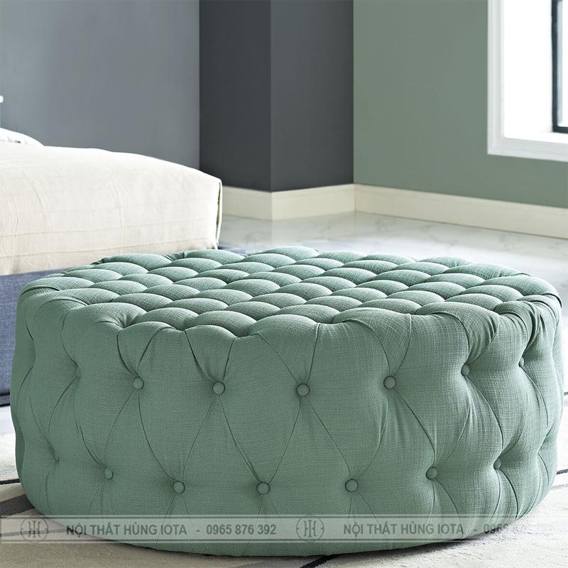 Ghế trụ tròn sofa spa màu xanh dương, sofa tròn gia đình màu xan