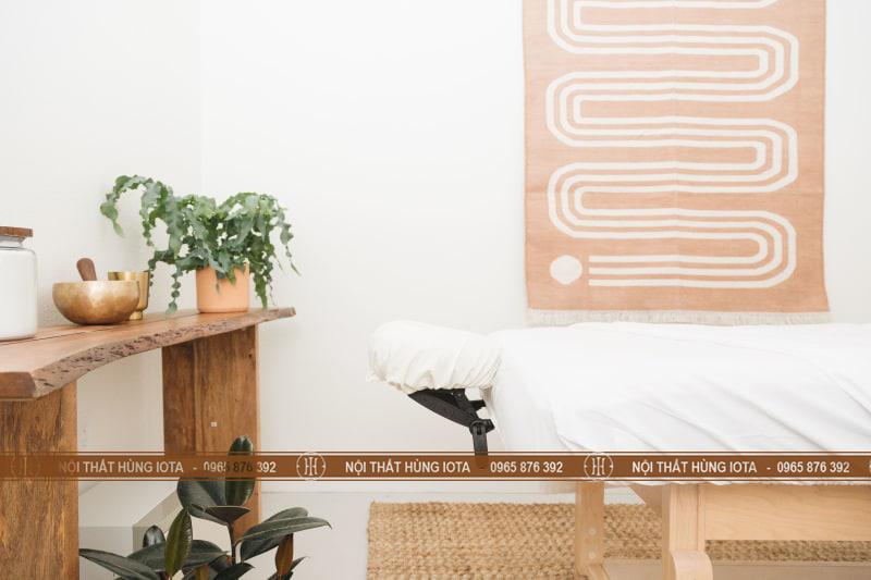 Giường nối mi cho nội thất nail màu gỗ tự nhiên đẹp