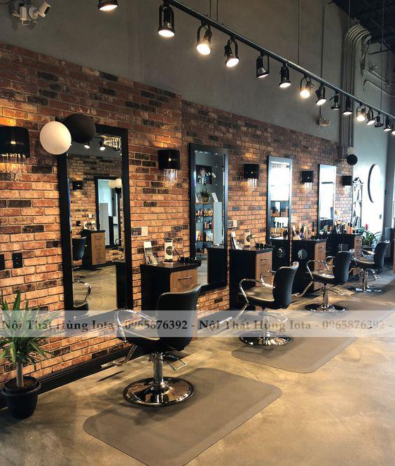 Gương cắt tóc màu đen khung gỗ hình chữ nhật cho tiệm cắt tóc