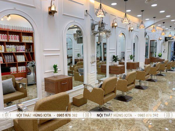 Gương cắt tóc mái vòm màu trắng đẹp giá rẻ cho nội thất salon tóc