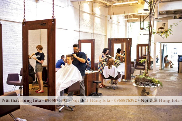 Gương cắt tóc treo khung gỗ màu nâu đẹp hình chữ nhật giá rẻ