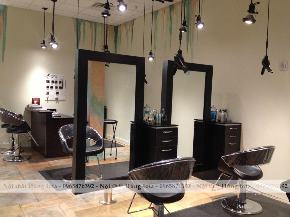 Gương cắt tóc treo màu đen hình chữ nhật khung gỗ đẹp giá rẻ