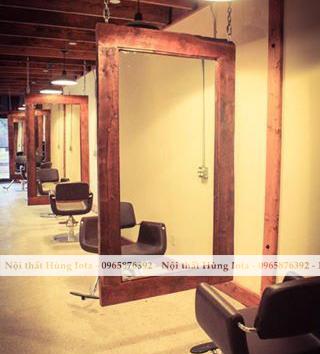 Gương cắt tóc treo màu nâu hình chữ nhật đẹp giá rẻ GCT21