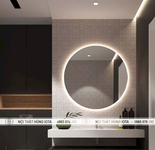 Gương cắt tóc tròn có đèn phía sau gương cho salon tóc, nhà tắm, nail mi, spa