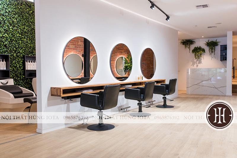 Gương tròn cắt tóc có đèn đẹp giá rẻ khung sắt