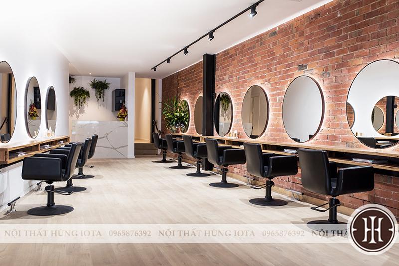 Nội thất tiệm cắt tóc đẹp - gương cắt tóc tròn đẹp giá rẻ