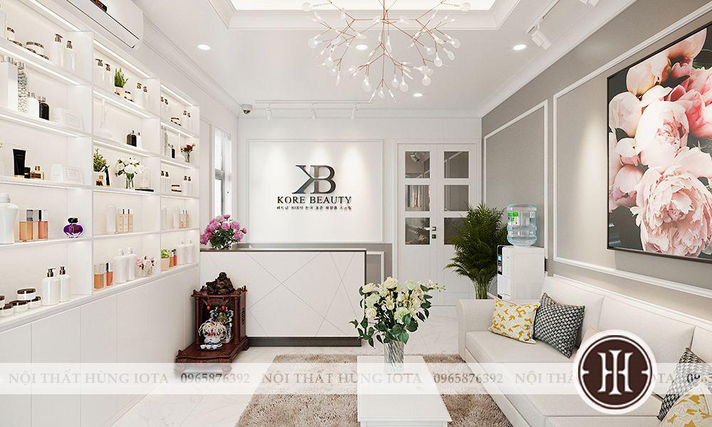 Phòng khách spa Kore Beauty & spa tông màu trắng
